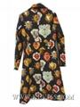 Hot Sale Women Fashion Autumn Winter Vintage Printed Knee Length Long Lapel Coat