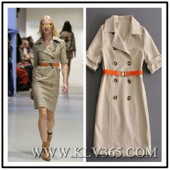 Hot Sale Designer Women Fashion Double Breasted Belted Lapel Trench Dress