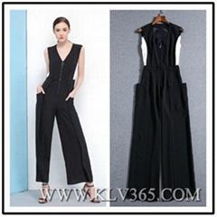 Spring Summer Fashion Design Women Sleeveless Flared Jumpsuit