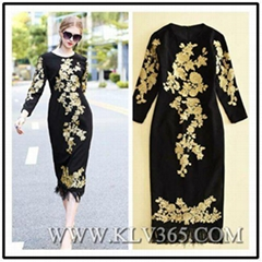 Latest Dress Design Women Fashion Embroidery Long Party Prom Dress (Hot Product - 1*)