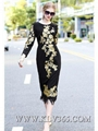 Latest Dress Design Women Fashion Embroidery Long Party Prom Dress