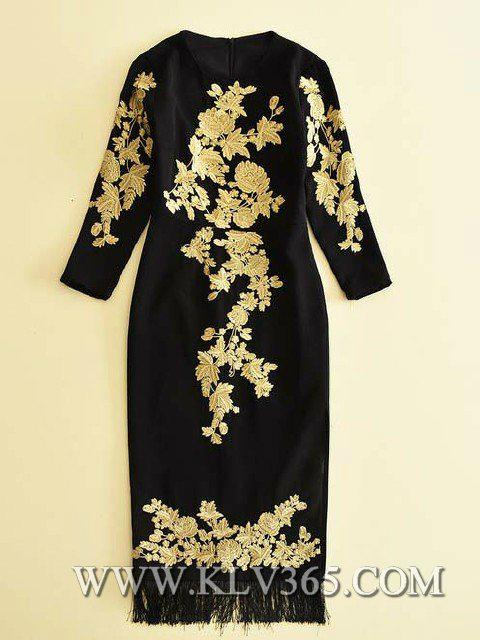 Latest Dress Design Women Fashion Embroidery Long Party Prom Dress 3