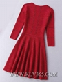 European Fashion Design Women Red Embroidery Celebrity Party Dress
