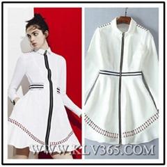 High Quality Runway Designer Women Fashion Long Sleeve Zipper Front Style Dress