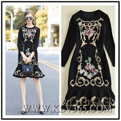 Latest Fashion Dress Design Women  Embroidered Party Prom Dress China Wholesale