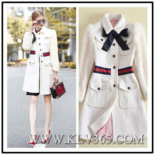 New Designer Women Fashion Winter  Wool Long Jacket