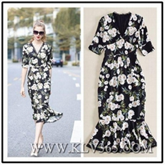 Wholesale Designer Women Lady Summer V Neck Sexy Mermaid Floral Long Maxi Dress
