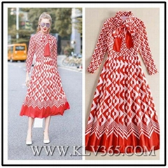 High Quality Women Clothing Fashion Long Sleeve Party Evening Dress