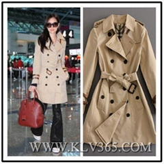 European Fashion Designer Women Ladies Winter Double Breasted Long Trench Coat