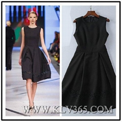 China Wholesale Women's Summer Sleeveless Black Embroidery Elegant Dress
