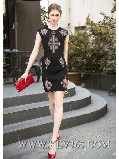 Women Fashion Summer  Beaded Sleeveless Casual Dress 2