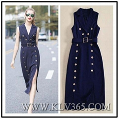 High Quality Fashion Clothes Double Breasted Long Trench Dress For Office Lady