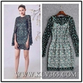 Latest  Dress Design Women Fashion Long Sleeve Embroidery Lace Elegant Dress