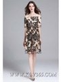 High Quality Women Clothing Fashion Summer Chiffon Silk Embroidery Party Dress