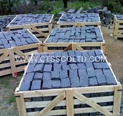 Black cobblestone paving stone