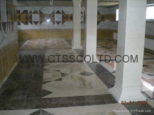 Marble Square Columns & medallion floor