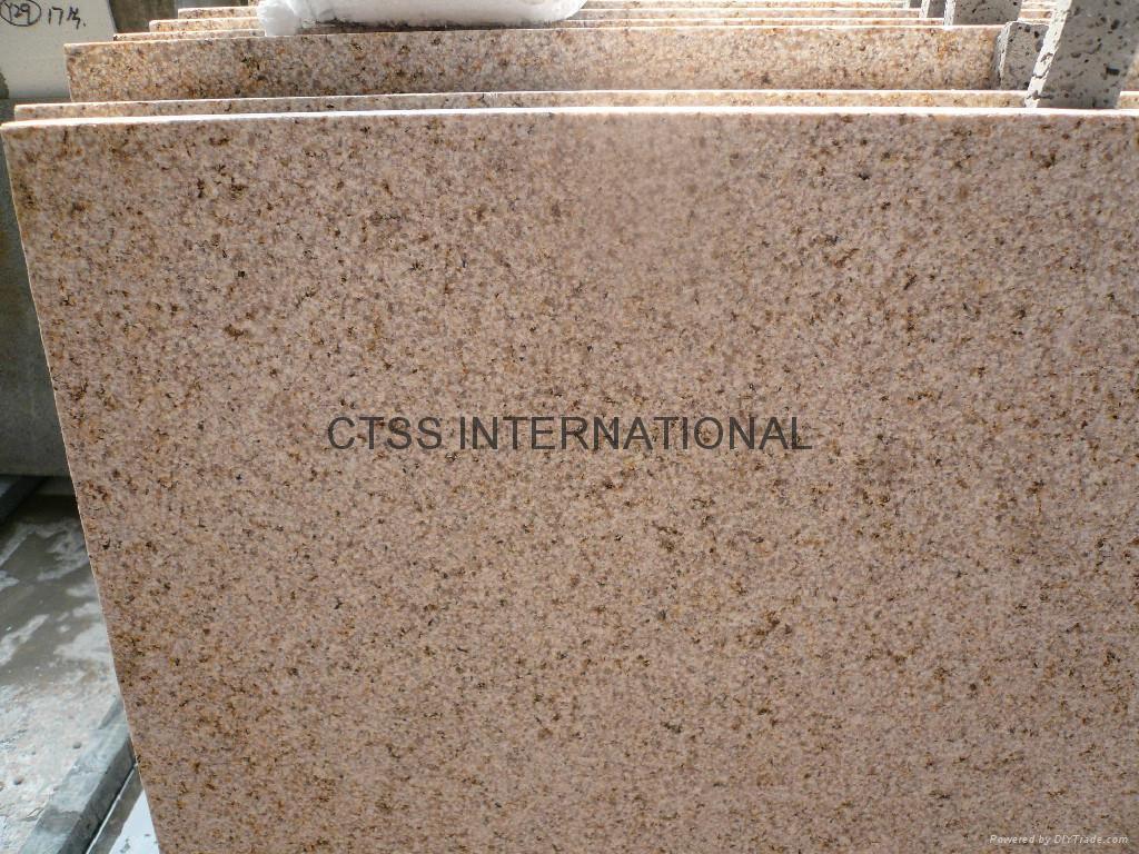 Yellow Granite Stone : Yellow beige golden color granite paving stone bush