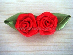 Red Rose bows with green leaf