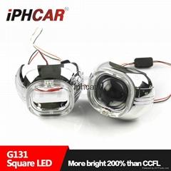 IPHCAR白藍紅方形3.0寸透鏡LED光導天使眼車燈