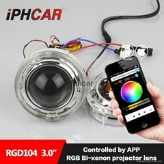 IPHCAR RGB newest LED Q5 glass  projector lens LED halo angel eyes rings