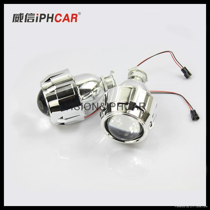 Car lens no angel eyes35w hid xenon lamp h1 bulb reteofit for Mirror mini projector