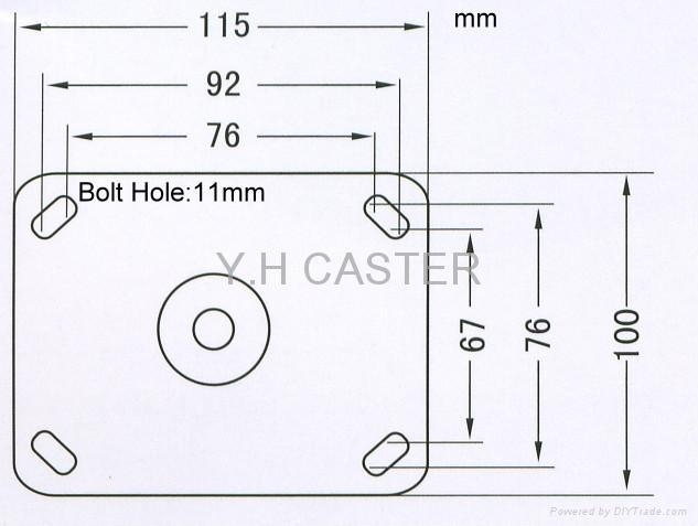 CASTER PLATE SIZE 100 X 115mm