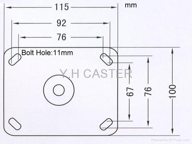 重型 輪子底板 100x115mm (國際規格)