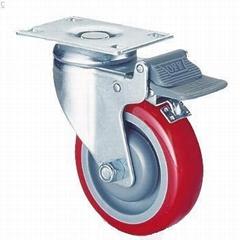 414PU腳輪-雙剎車-輪子