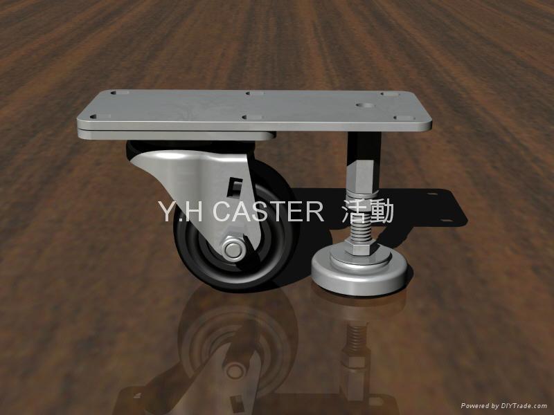 3x2美式輪+調整腳座 (裝配2顆 軸承鋼#6200)