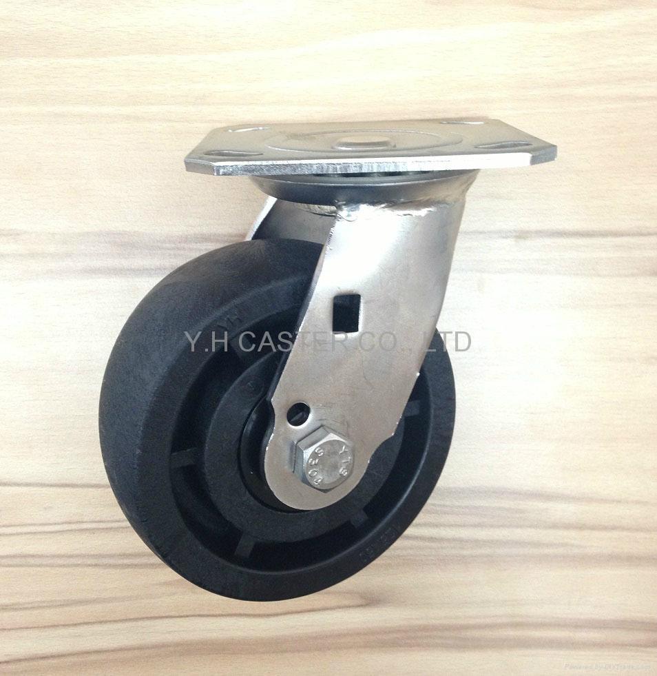 5x2 耐高溫尼龍輪 不鏽鋼重型活動 (黑)