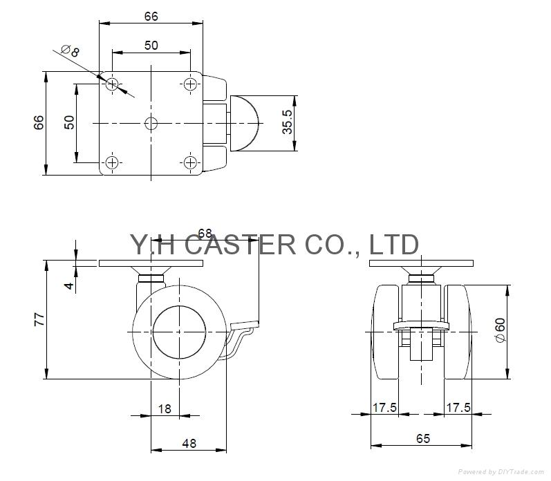 60mm nylon machine caster