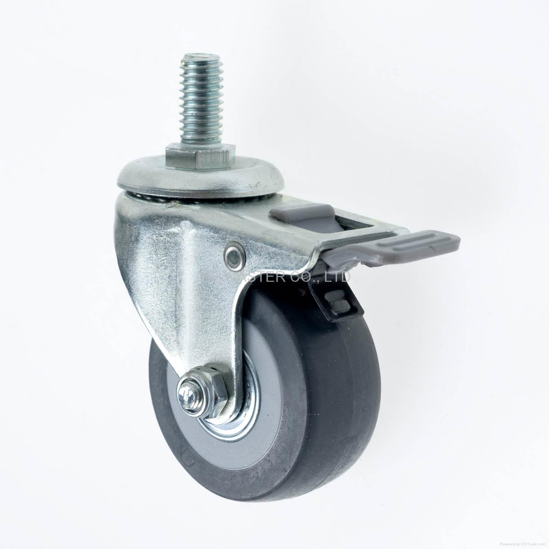 23系列 5023高彈性TPR腳輪 螺絲活動 / 雙剎 5