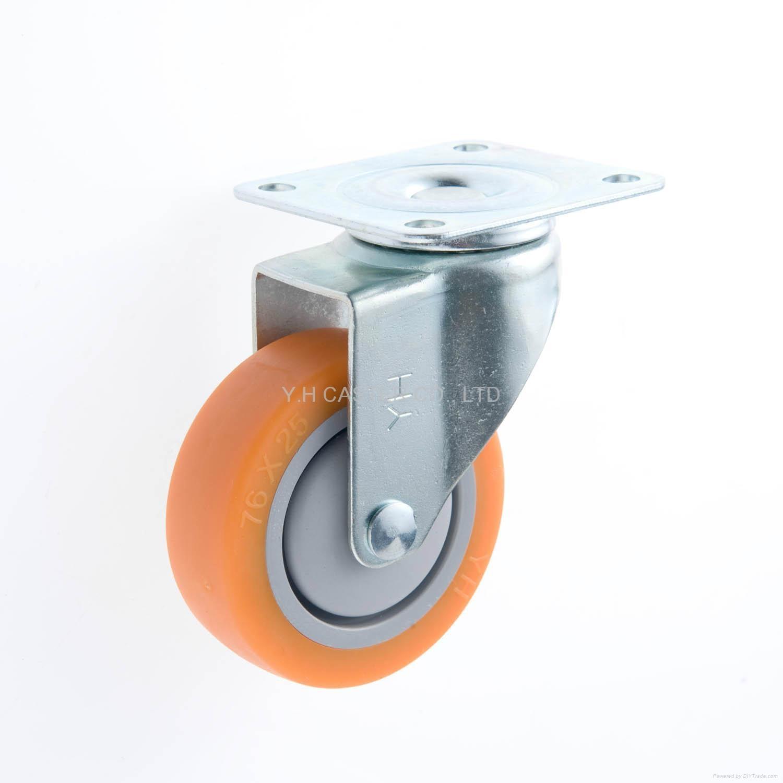 25 Series 3x1 TPR Caster (Orange) (Plate w/o Brake)