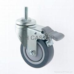 25系列 3x1 TPR 新式儀器輪(灰) 螺絲活動/雙剎