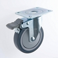 25 Series 4x1 TPR Caster (Plate with Brake)