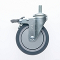25 Series 4x1 TPR Caster (Threaded Stem with Brake)