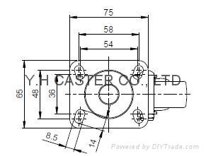 25系列 3x1 TPR新式儀器輪(橘) 四角活動/雙剎 7