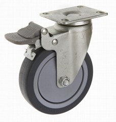 37系列 4x1 高彈性TPR 雙踏板腳輪
