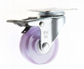 5022 PVC Transparent Caster (Plate with Total Brake)-pink