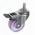 5022 PVC Transparent Caster (Threaded Stem with Total Brake)-pink