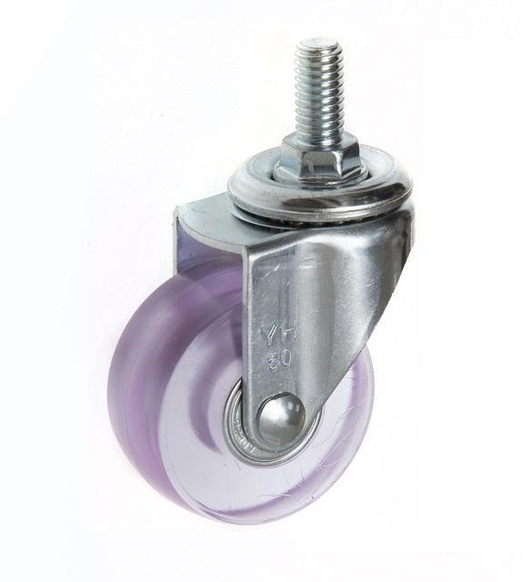5022 PVC 透明轮 螺丝活动-粉红