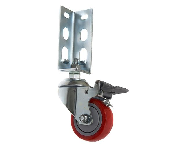 免螺絲角鋼輪 - 314  PU 紅輪