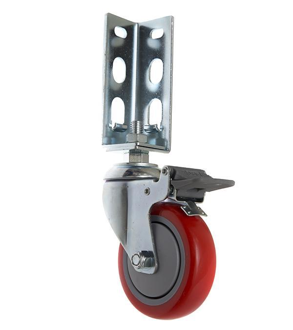 免螺絲角鋼輪 - 414  PU 紅輪