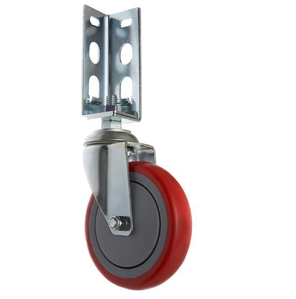 免螺絲角鋼輪 - 514  PU 紅輪