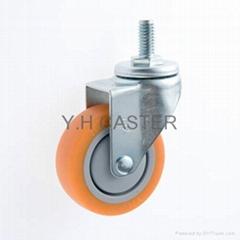 25系列 3x1 TPR新式儀器輪(橘) 螺絲活動/雙剎