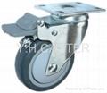 4英吋高彈性TPR輪子平板雙剎車