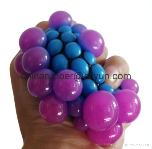 TPR stress ball, water bouncing ball with fabric, custom grape mesh squishy ball 11