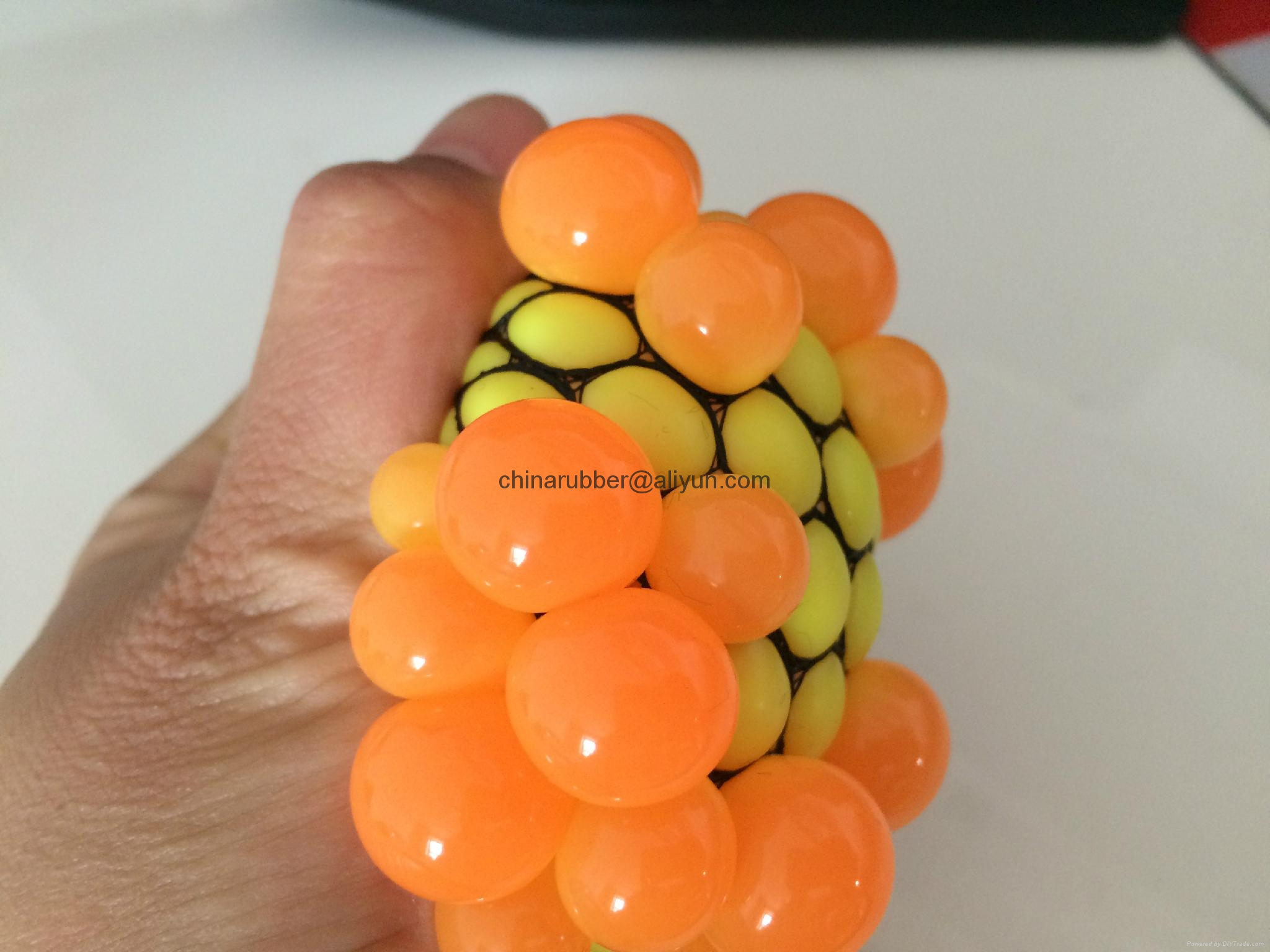 TPR stress ball, water bouncing ball with fabric, custom grape mesh squishy ball 19