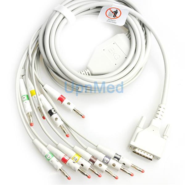 Edan SE-3/SE-601B 10 lead ekg cable wth lead wires, 15pins  1