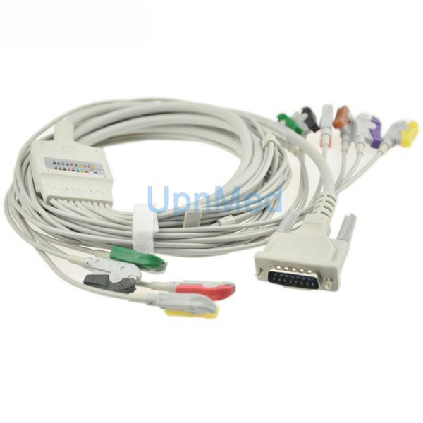 Edan SE-3/SE-601B 10 lead ekg cable wth lead wires, 15pins  2